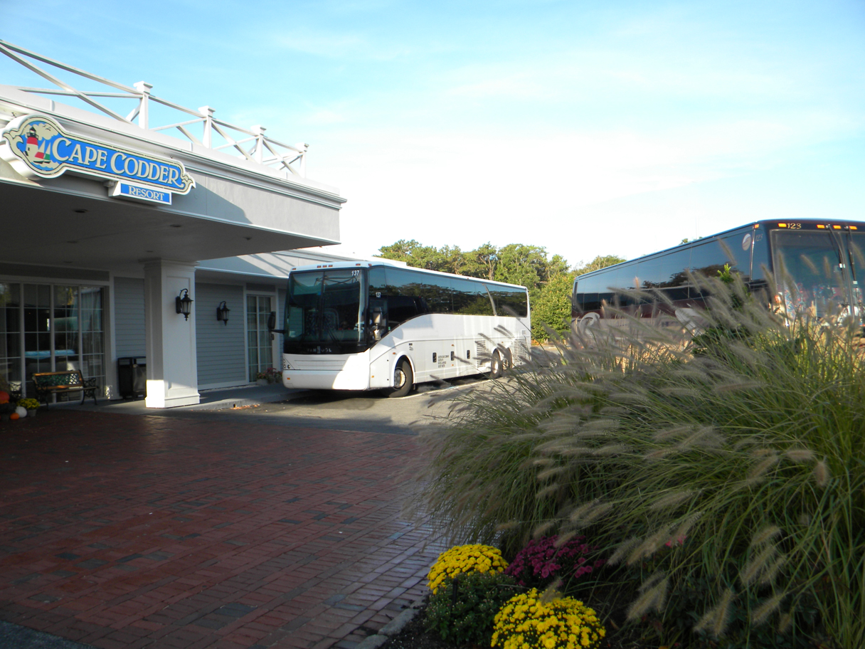 Coach at the front of the Cape Codder Resort and Spa