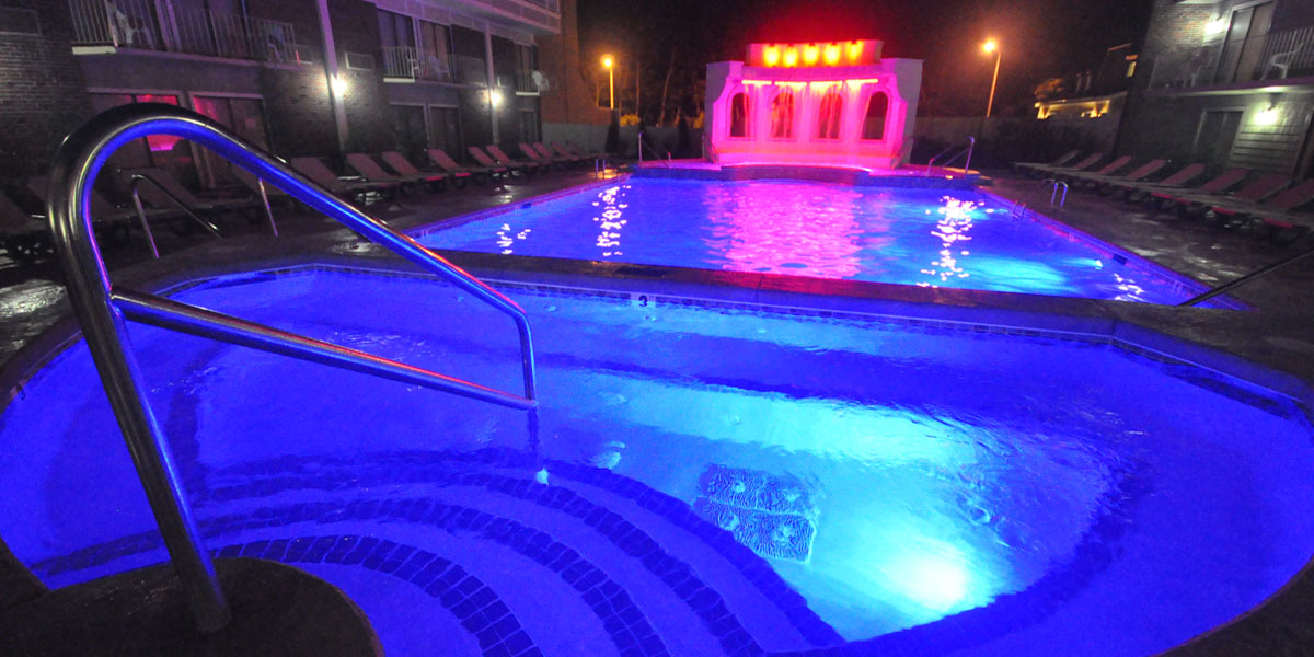 Outdoor Pool lit up at night